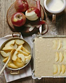 Making apple cake with cream topping