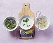 Sherry dressing, yoghurt & lime dressing, potato dressing