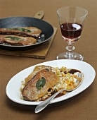 Lamb saltimbocca with Burgundy sauce on barley risotto