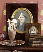 Chocolate milk with ice cream & cream, pictures, books