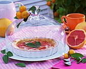 Grapefruit tart in tart dish under glass dome out of doors