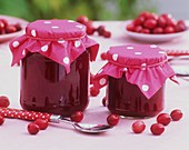 Two jars of cranberry jam