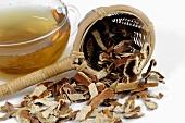 Mandarin orange tea, dried mandarin orange peel & tea strainer