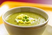 Lettuce soup with mangetout