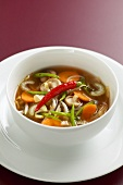 Asian vegetable soup with soya sprouts & shiitake mushrooms