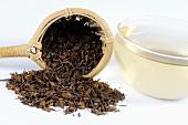 Tee mit getrockneten Astern-Wurzeln und einem Teesieb