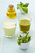 Herb and yoghurt dressings in glasses