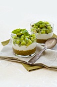 Kiwi fruit verrine in two glasses