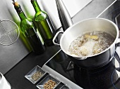 Cooking whelks in white wine