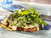 Cheese on wholemeal toast with herbs