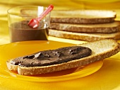 Nut chocolate spread on toasted bread