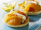 English muffins with smoked salmon, salmon caviar, soft cheese