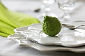 A kaffir lime on plates