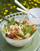 Asian vegetable salad with sesame dressing out of doors