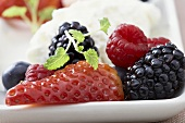 Fresh berries with yoghurt mousse