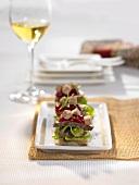 Venison fillet, duck liver pâté & cranberries on nut bread