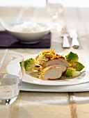 Corn fed chicken breast with tarragon sauce & romanesco broccoli