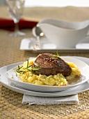 Fillet steak with truffle and sauerkraut mash