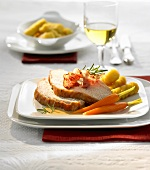 Turkey with white wine & orange sauce, carrots & potato croquettes