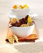 Chocolate fondue with rice crackers