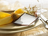 Christmas place-setting with menu