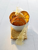 Dried orange slices with gift ribbon for Christmas