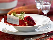 Christmas place-setting with place card (Maria)