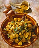 Potato curry with shallots and sesame seeds