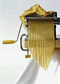 Home-made tagliatelle with pasta maker