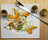 Turnip and carrot carpaccio with nut dressing