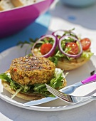 Grilled chick-pea burger