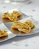 Caesar salad on Parmesan crisps (appetisers)