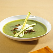 A plate of courgette and pepper soup with chanterelles