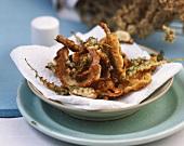 Deep-fried yarrow in Parmesan batter