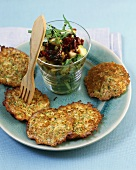 Courgette rostis with courgette and rocket salad