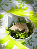 Green asparagus and bean salad with goose liver
