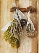 Various medicinal herbs hanging up to dry