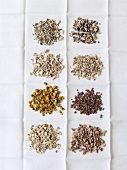 Dried medicinal plants on a linen cloth