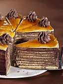Dobos cake, a piece cut