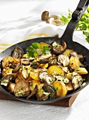 Cep and potato hash in a cast-iron frying pan