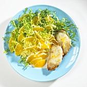 Frisée and orange salad with mozzarella on toast