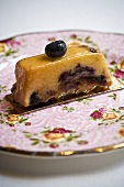 Piece of olive oil blueberry cake