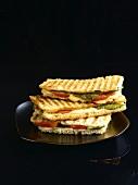 Tomato, mozzarella and basil toasted sandwiches