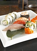 Assorted sushi on a platter