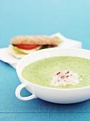 Courgette soup, horseradish cream, tomato & cucumber sandwich