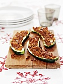 Courgette halves stuffed with Quorn