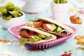 Smoked salmon, avocado, tomato, lettuce, sour cream in panini