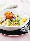 Pasta with avocado, onion and whitefish roe