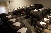 Barrels of balsamic vinegar in a cellar, Modena