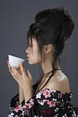 Japanese woman drinking tea